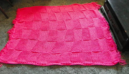Pink Knitted Afghan Throw Blanket  48 x 65 - $59.95