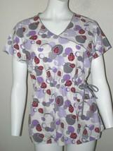Dickies Scrubs Top Size S Red Ladybugs Pockets Drawstring Waist Womens Uniforms  - $16.82