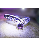 Haunted RING 3X SEE SPIRITS SPECTOR LIGHTS MAGICK 925 AMETHYST WITCH Cas... - $59.77