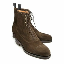 Handmade Men's Chocolate Brown High Ankle Lace Up Suede Boots image 1
