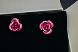 Avon Pink Rosette Pierced Earrings With Surgical Steel Posts - $12.99