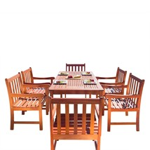 Malibu Eco-Friendly 7-Piece Wood Outdoor Dining Set V98SET12 - $845.16