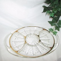 JEANNETTE GLASS FEATHER GOLD 5 PART RELISH DISH SERVING PLATTER TRAY DEP... - $20.49