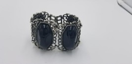 Vintage Silvertone Big Bracelet With Bulky Black Onyx Like Pieces For St... - $18.35