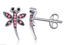 Pink Dragonfly Stud Kids Earrings Sterling Silver Jewelry 925 w/ AAA CZ ... - $47.49