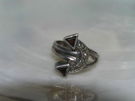 Estate 925 Hallmarked Silver Marcasite Curved Arrow with Red Triangle En... - $22.98