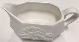 Tabletops Gallery Bountiful Thanksgiving White Ceramic Gravy Boat Embossed - $24.74