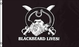 BLACK BEARD LIVES pirate 3 X 5 FLAG FL743 banner wall PIRATES HAT & SWOR... - $6.27