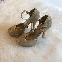 Women's Steve Madden Gold Platform Strap Sandals Size sz 8 - $23.11