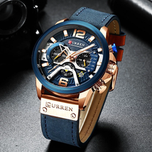 Curren Mens Watches Top Brand Luxury Chronograph Men Watch Leather Luxury Waterp - $52.03+