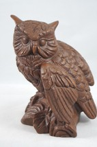 Vintage RED MILL Owl Figurine Pecan/Resin Handcrafted in U.S.A. Gold & R... - $23.71