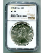 1986 AMERICAN SILVER EAGLE NGC MS69 BROWN LABEL PREMIUM QUALITY NICE COI... - $87.95