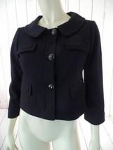 Ann Taylor Loft Blazer 2 Black Poly Rayon Spandex Stretch Knit Shorty Crop Retro - $58.41
