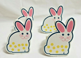 Spring Easter Bunny Napkin Holder Rings Dinning Table Decor Set of 4 White - $19.99
