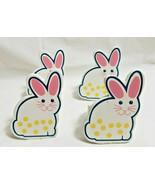 Spring Easter Bunny Napkin Holder Rings Dinning Table Decor Set of 4 White - $19.99