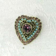 "Vintage Heart Brooch Pin ~ Gold Filigree Amethyst Purple Turquoise ~ 1-1/4"" - $16.82"