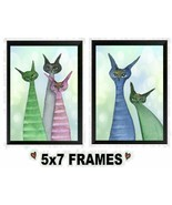 5x7 Colorful Cat Pictures Cute Striped Cartoon Cats Bed & Bath Wall Han... - $8.99+
