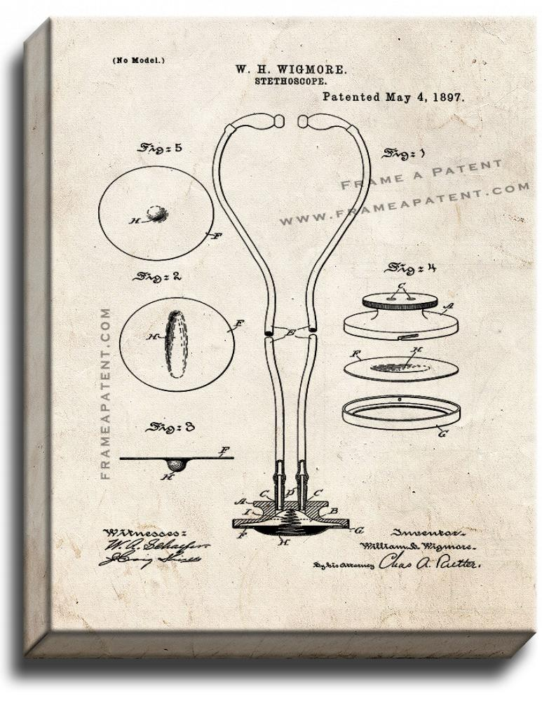 Primary image for Stethoscope Patent Print Old Look on Canvas