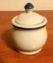 Vintage Cream Color With Blue Stoneware Sugar Bowl With Lid Made in Taiwan - $14.85