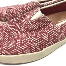 Toms Womens Size 5 Slip On Casual Sneakers Red White Fabric Woven Flats image 8