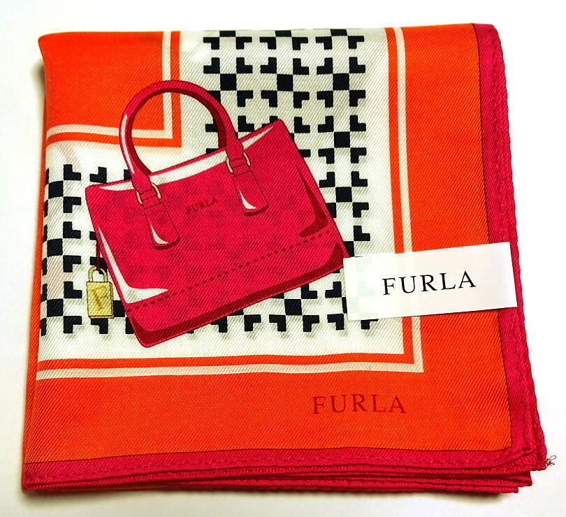 FURLA Handkerchief hanky scarf bandana Silk Bag Orange Auth New Collectible