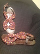 GUPPY LOVE BY BLOWFISH BROWN FLORAL FABRIC & LEATHER SANDALS WOMENS SZ 8.5M - $19.79
