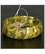 67mm Olive Green Vines Fabric Wood Dome Bangle Bracelet Wooden - $10.00