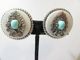 Silver Tone Plastic Blue Stone Southwest Arrow Head Design Vintage Clip Earrings - $17.00