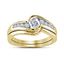 925 Silver 14K Gold Plated Princess Cut White Diamond Women's Wedding Ri... - $67.57