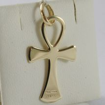 SOLID 18K YELLOW GOLD CROSS, CROSS OF LIFE, ANKH, SHINY, 1.26 INCH MADE IN ITALY image 3