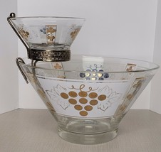 Vintage Grape Design Gold Detail Chip And Dip Glass Bowl Set Anchor Hock... - $34.65