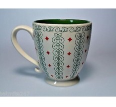 Starbucks 2003 Red Green Holiday Diamond Scroll Footed Pedestal Mug Cup 18 Oz - $11.55
