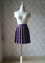 PURPLE PLAID SKIRT Women School Girl Pleated Skirt Mini Plaid Skirt New US0-US16