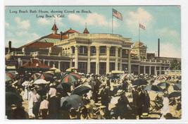 Beach Crowd Bath House Long Beach California 1910c postcard - $5.94