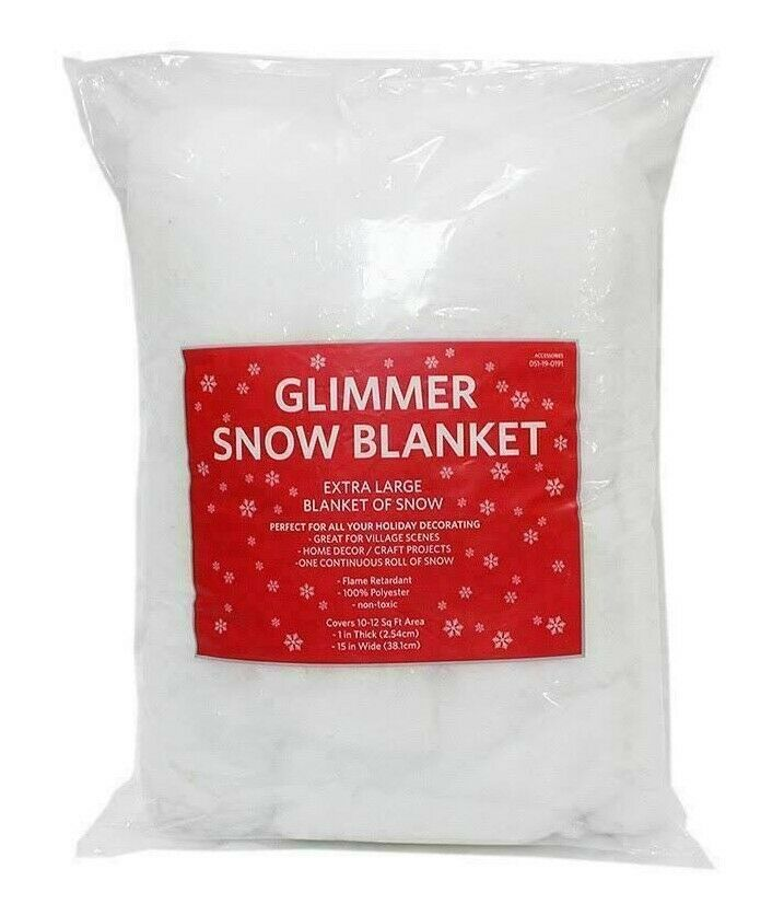"Glimmer Snow Blanket Ice Flakes Extra Large 15""x10-12 SQ FT Holiday Decoration"