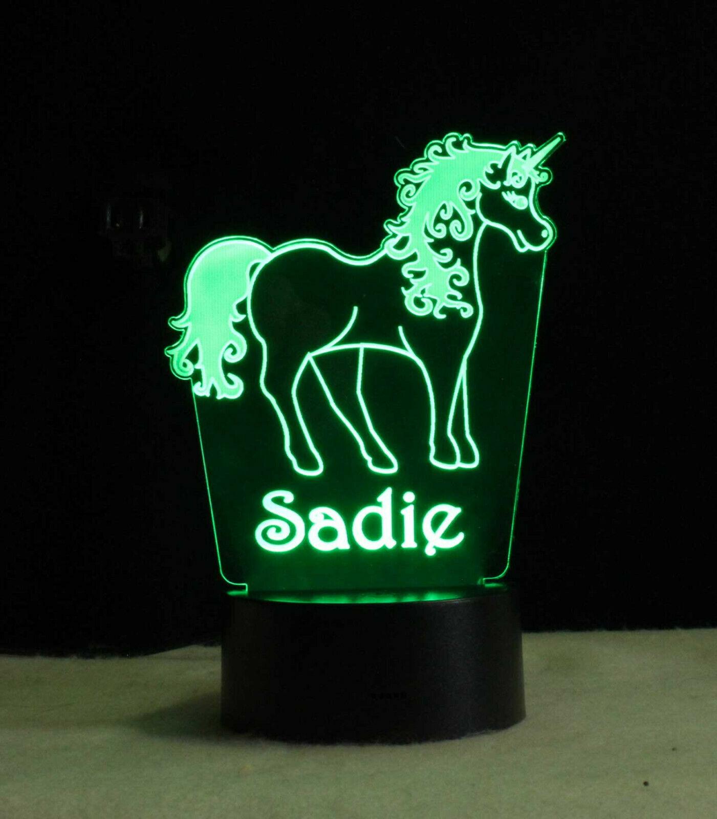 Personalized Unicorn Lamp Night light USB or Wall Plug In image 3