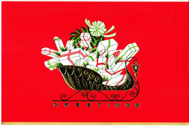 Vintage Christmas Card Sleigh with Gifts Mid-Century Red with Envelope - $8.90