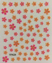 BANG STORE Nail Art 3D Decal Stickers Glittery Hot Pink & Orange Flowers CUTE - $3.67