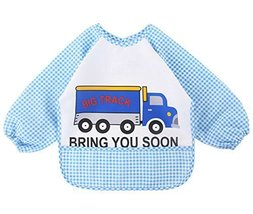 Cartoon Waterproof Baby Bib Kids Painting Smock BLUE Cars, 1-3 Years