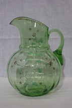 Vintage UV Green Vaseline Depression Glass Hand Enameled FLORAL Beverage... - $89.99