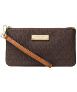 Michael Kors Medium Wristlet Phone Wallet Signature MK Logo Jet Set ~Brown~ NWT - $51.68