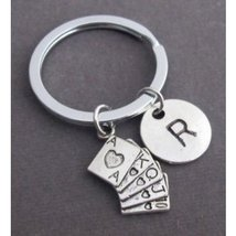 Poker Keychain,Royal Flush Key Chain,Deck of Playing Cards, Game Keyring - $12.00