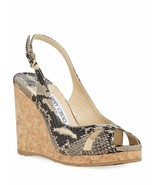 Jimmy Choo Amely Snake-Print Slingback Wedge Sandals Size 36 MSRP: $525.00 - £266.11 GBP