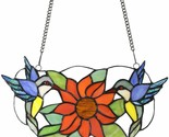 Two Hummingbirds and a Sunflower Stained Glass Sun Catcher