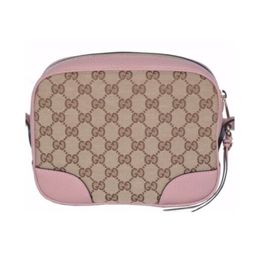 NEW Gucci Beige Pink GG Guccissima Leather Bree Crossbody Camera Shoulder Bag