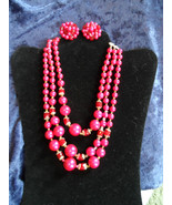 Vintage Fuchsia necklace earring set Japan gold tone red Crystals 3 strands - $35.00