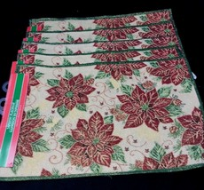 "5 CHRISTMAS Gold Sparkle Poinsettia Table Placemats Jacquard Woven 19"" x... - $35.99"