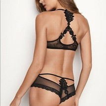 Victoria's Secret VERY SEXY Lace Applique Cheeky Panty Bikini Thong Blac... - $19.12