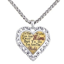 Mimi You Are The World To Us Silver Chain Necklace Heart Jewelry Grandmother - $14.72