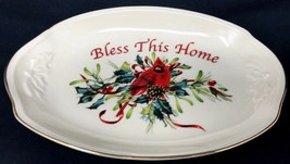 LENOX Christmas Winter Greetings Bless This Home  Catherine McClung Tray... - $35.99